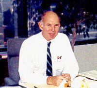 photo, Dr. John D.G. Rather at Kaman Aerospace, circa 1986